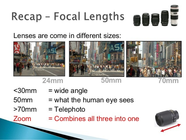 Lenses are come in different sizes: <30mm = wide angle 50mm = what the human eye sees >70mm = Telephoto Zoom = Combines al...