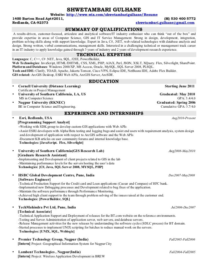 gis resume sample sample resume gis gis technician resume best