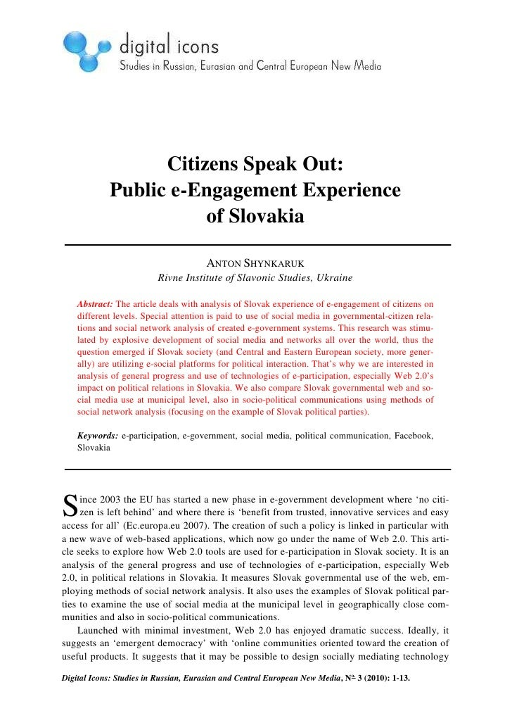 Citizens Speak Out:             Public e-Engagement Experience                        of Slovakia                         ...