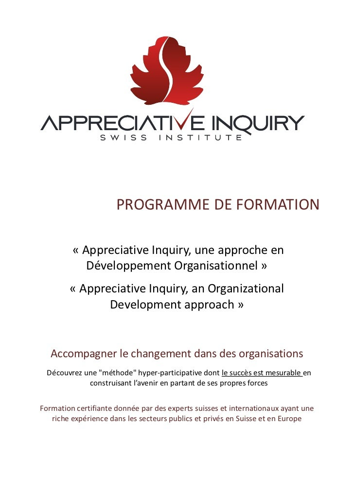 PROGRAMME DE FORMATION         « Appreciative Inquiry, une approche en            Développement Organisationnel »        «...