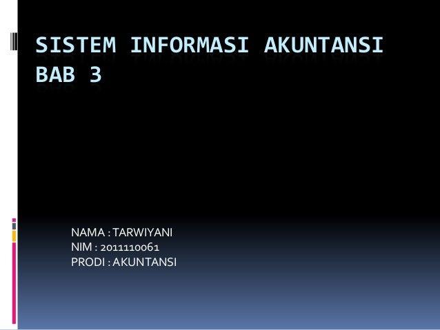 SISTEM INFORMASI AKUNTANSIBAB 3NAMA :TARWIYANINIM : 2011110061PRODI : AKUNTANSI