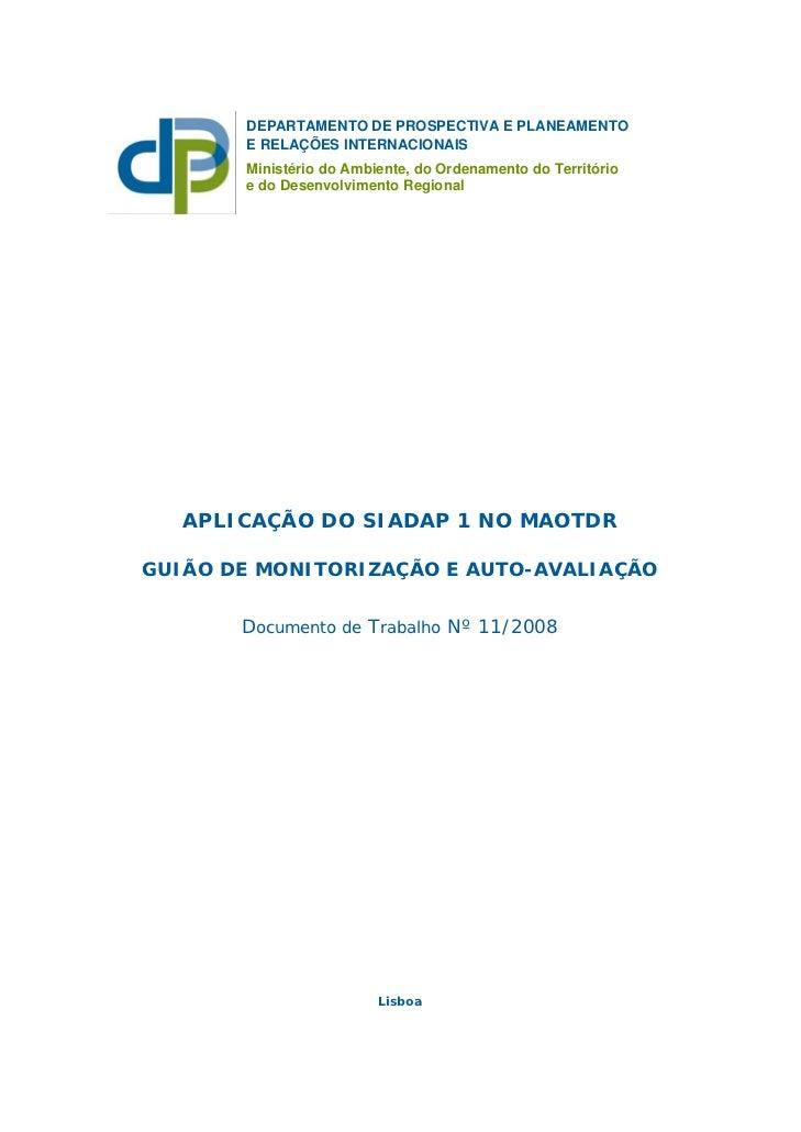 DEPARTAMENTO DE PROSPECTIVA E PLANEAMENTO       E RELAÇÕES INTERNACIONAIS       Ministério do Ambiente, do Ordenamento do ...