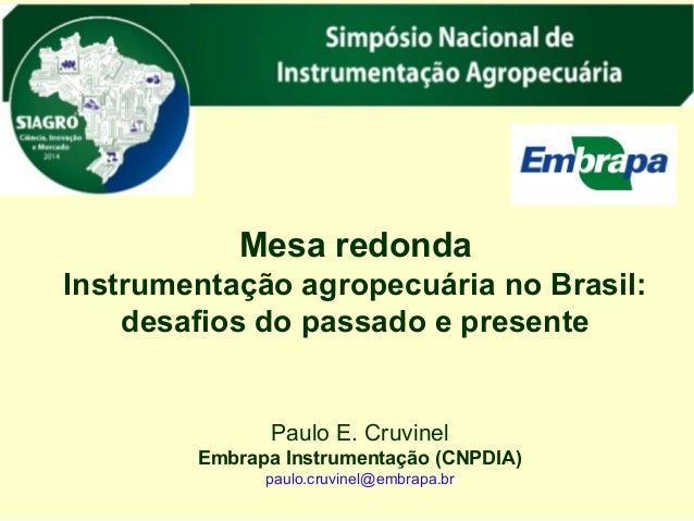 Mesa redonda  Instrumentação agropecuária no Brasil:  desafios do passado e presente  Paulo E. Cruvinel  Embrapa Instrumen...