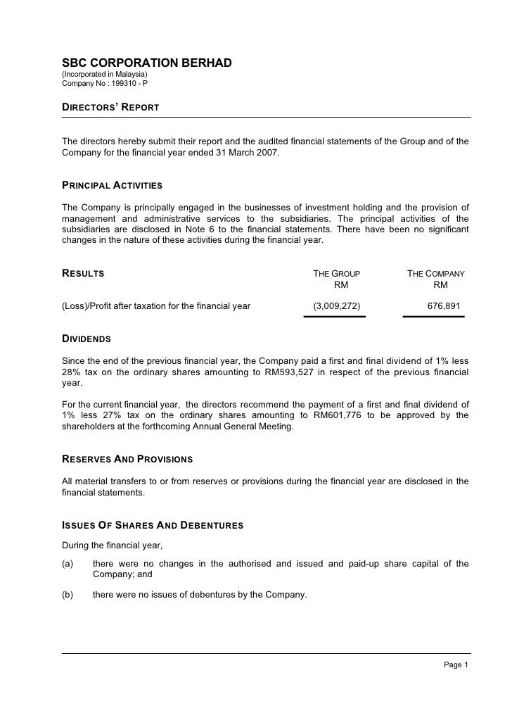SBC CORPORATION BERHAD (Incorporated in Malaysia) Company No : 199310 - P   DIRECTORS' REPORT   The directors hereby submi...