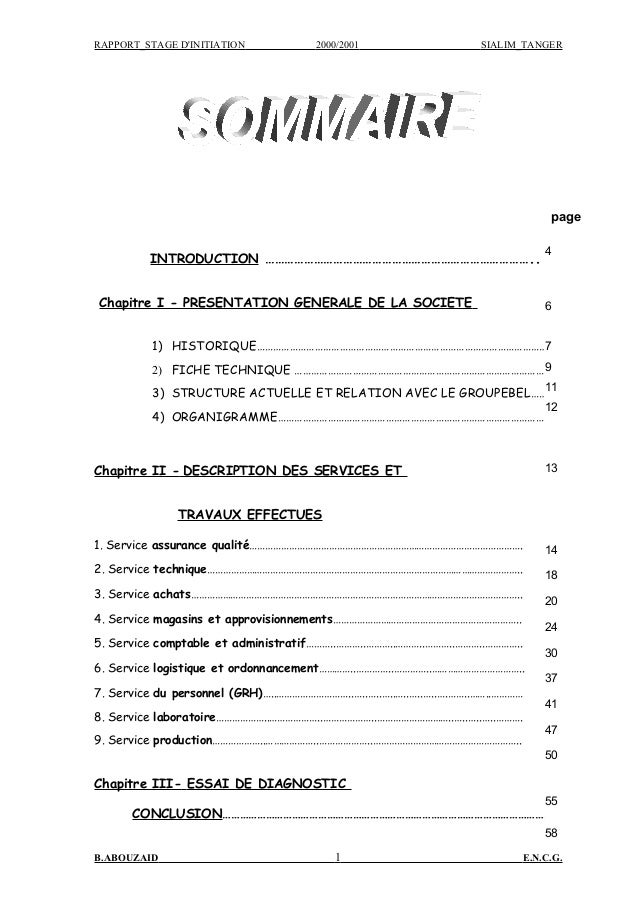 RAPPORT_STAGE D'INITIATION 2000/2001 SIALIM_TANGER INTRODUCTION ……………………………………………………………………….. Chapitre I - PRESENTATION GE...