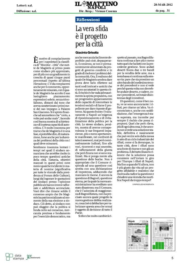 Lettori: n.d.                                   28-MAR-2012Diffusione: n.d.   Dir. Resp.: Virman Cusenza   da pag. 31     ...