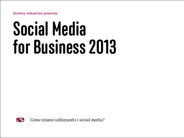 Gummy Industries presentaSocial Mediafor Business 2013Come stiamo utilizzando i social media?