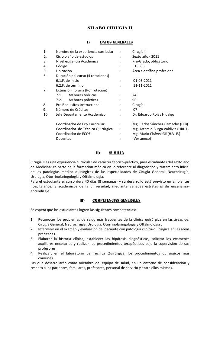 SILABO CIRUGÍA II                                      I)          DATOS GENERALES        1.      Nombre de la experiencia...