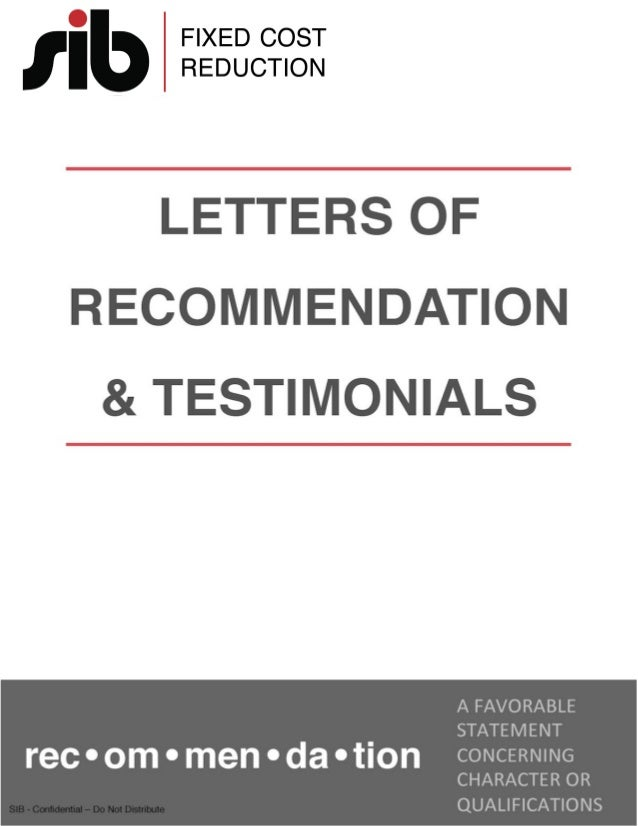 SIB Letters of Recommendation