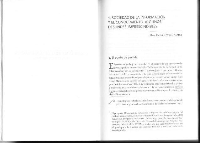 SOCIEDAD DE LA INFORMACION1-.Y EL CONOCIMIENTO. ALCUNOSDESLINDES IMPRESCINDIBLES                                          ...
