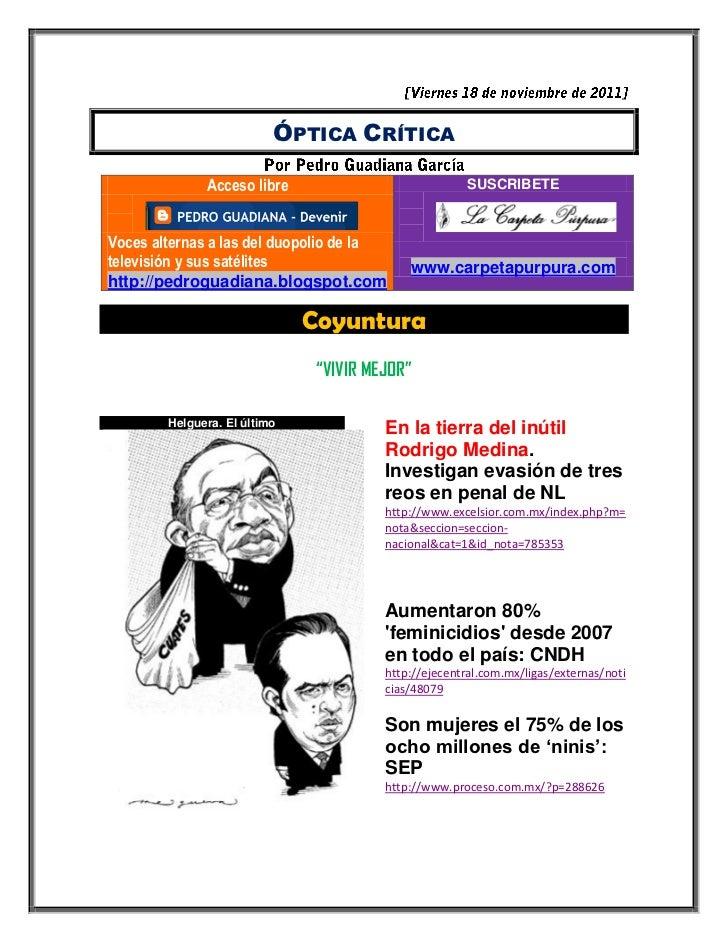ÓPTICA CRÍTICA              Acceso libre                             SUSCRIBETEVoces alternas a las del duopolio de latele...