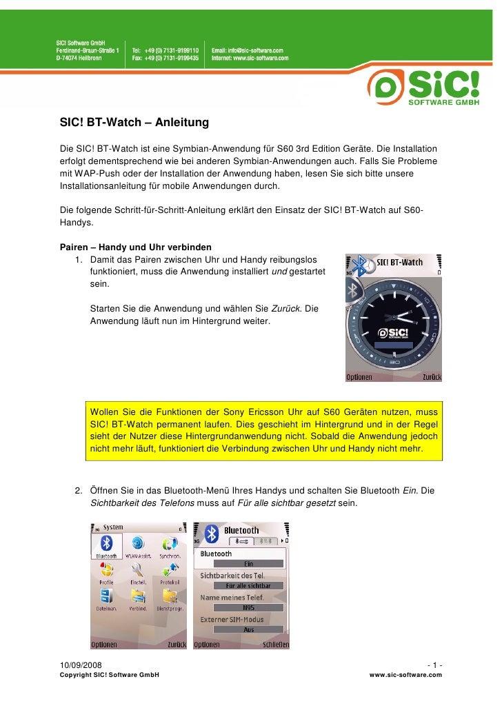 SIC! BT-Watch – Anleitung  Die SIC! BT-Watch ist eine Symbian-Anwendung für S60 3rd Edition Geräte. Die Installation erfol...