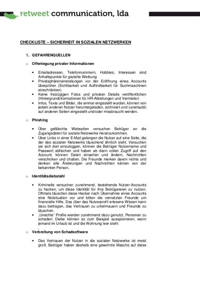 CHECKLISTE – SICHERHEIT IN SOZIALEN NETZWERKEN  1. GEFAHRENQUELLEN  o   Offenlegung privater Informationen      •   Emaila...