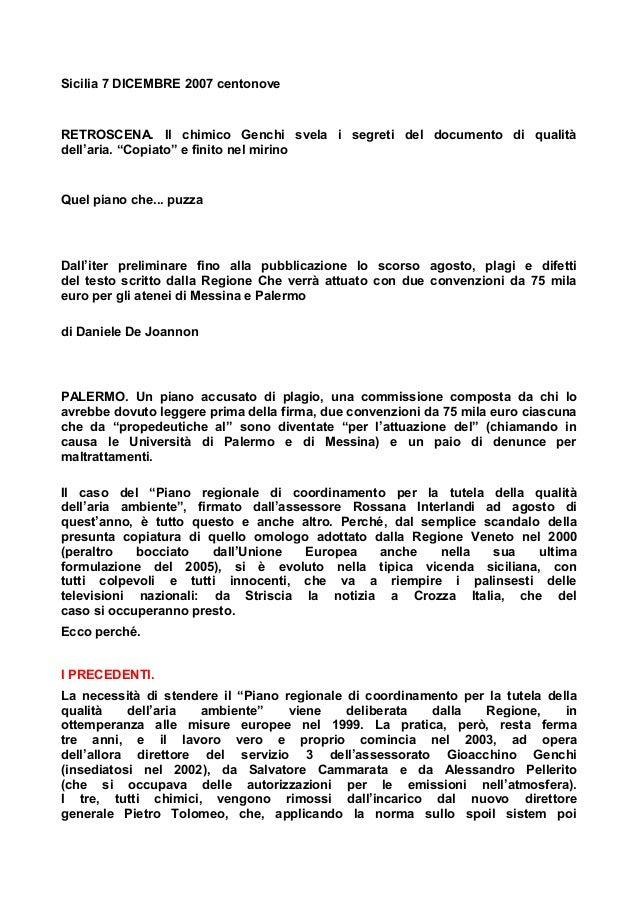 """Sicilia 7 DICEMBRE 2007 centonove  RETROSCENA. Il chimico Genchi svela i segreti del documento di qualità dell'aria. """"Copi..."""