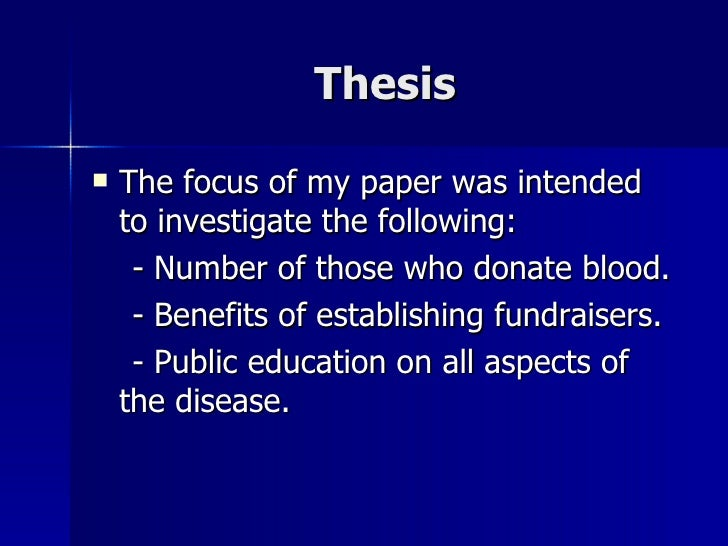 sickle cell thesis Thesis statement argumentative compare and contrast  an introduction to the issue of sickle cell anemia a blood disorder 1,283 words  an analysis of the.