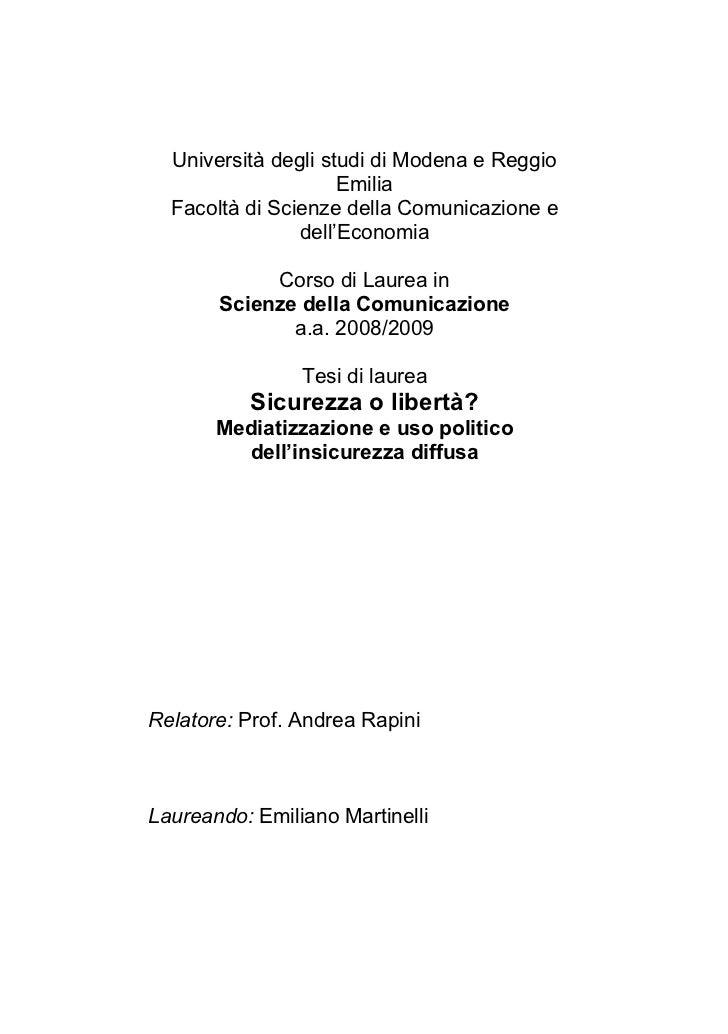 Università degli studi di Modena e Reggio                     Emilia  Facoltà di Scienze della Comunicazione e            ...