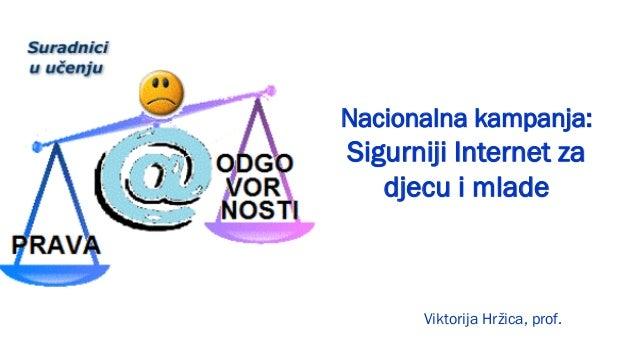 Nacionalna kampanja:Sigurniji Internet za   djecu i mlade      Viktorija Hržica, prof.