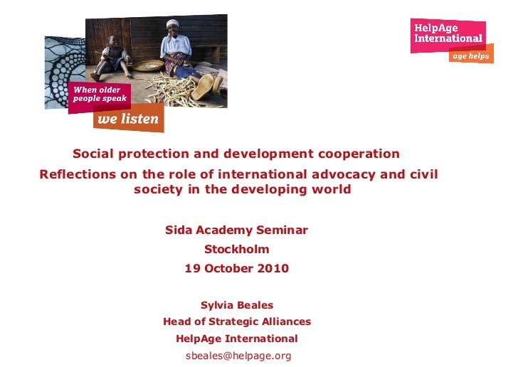 Social protection and development cooperation  Reflections on the role of international advocacy and civil society   in th...