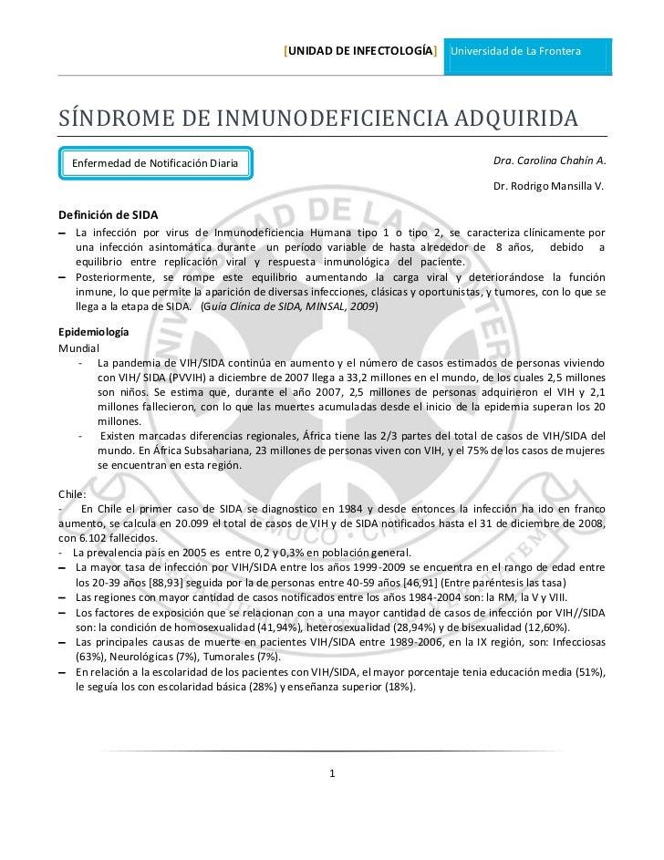 [UNIDAD DE INFECTOLOGÍA] Universidad de La FronteraSÍNDROME DE INMUNODEFICIENCIA ADQUIRIDA  Enfermedad de Notificación Dia...