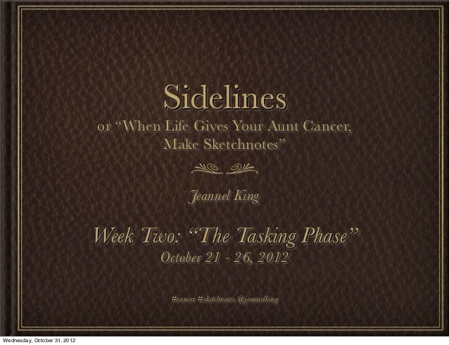 "Week 02: ""The Tasking Phase"" - Sidelines, or ""When Life Gives Your Aunt Cancer, Make Sketchnotes"""