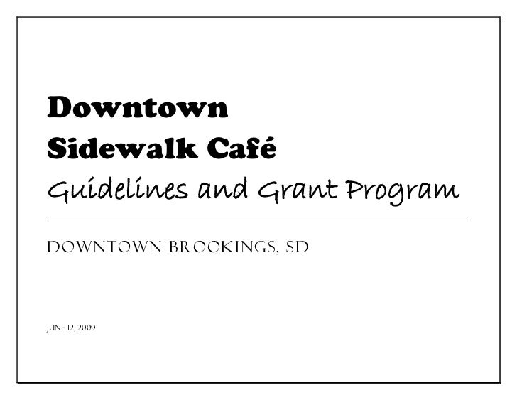 Sidewalk Cafe Design Guidelines Booklet