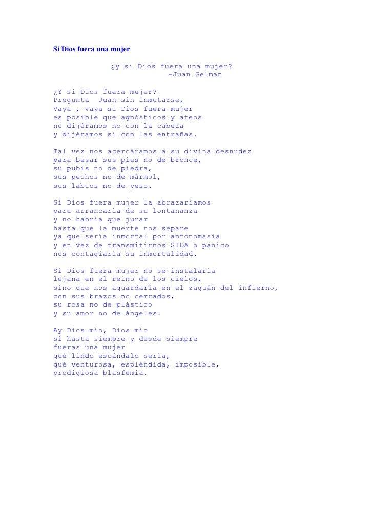 Si Dios Fuera Una Mujer. Mario Benedetti