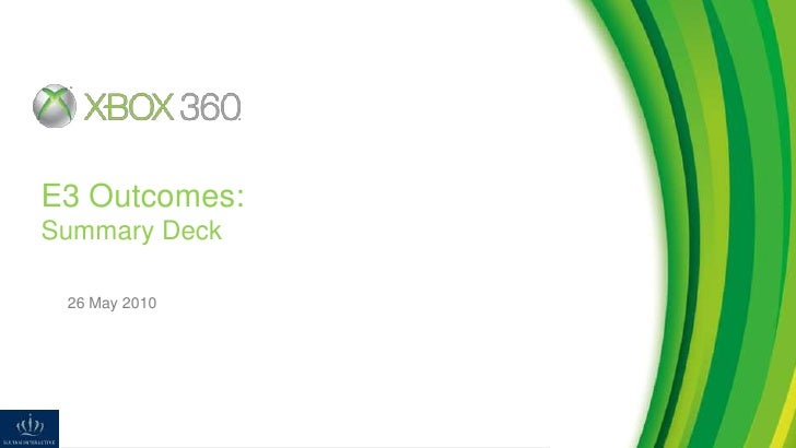 SI E3 Kinect Launch Outcomes Deck