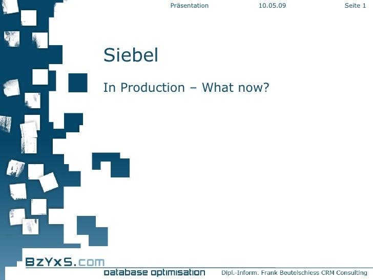 Siebel In Production – What now? 10.06.09 Präsentation Seite
