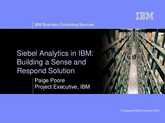 IBM Business Consulting Services © Copyright IBM Corporation 2003© Copyright IBM Corporation 2004 Siebel Analytics in IBM:...