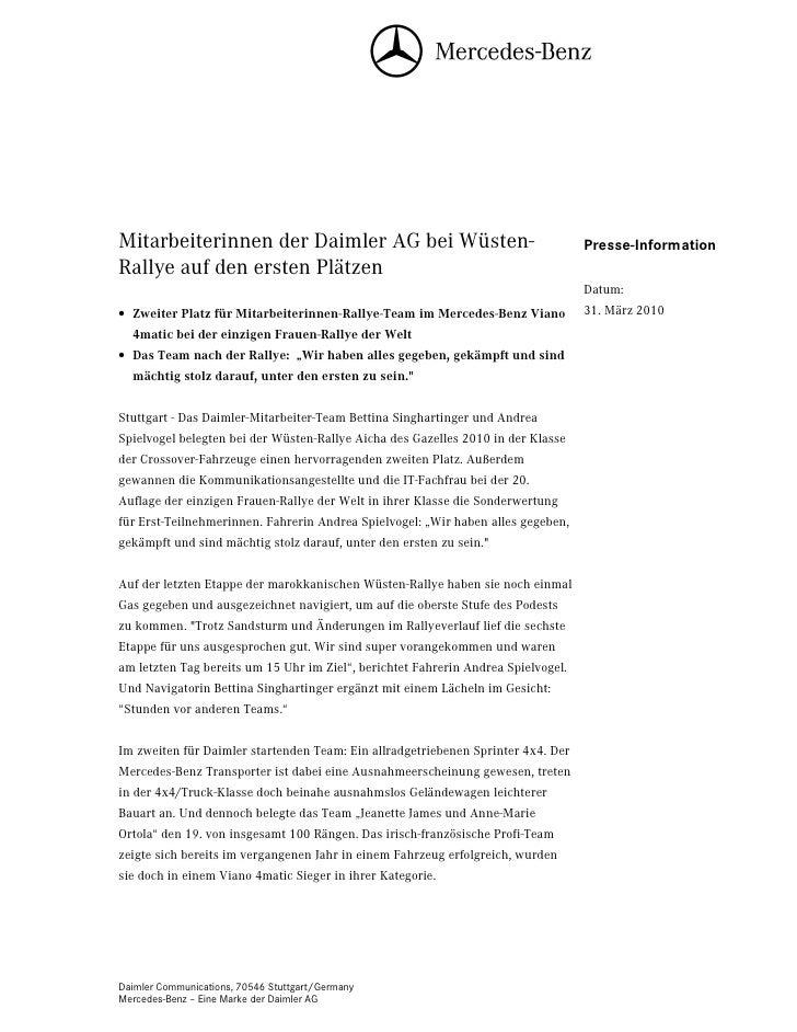 Mitarbeiterinnen der Daimler AG bei Wüsten-                                        Presse-InformationRallye auf den ersten...