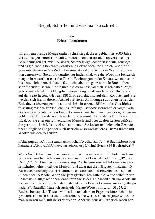 Siegel, Schriften und was man so schrieb.                                  von                          Erhard Landmann Es...