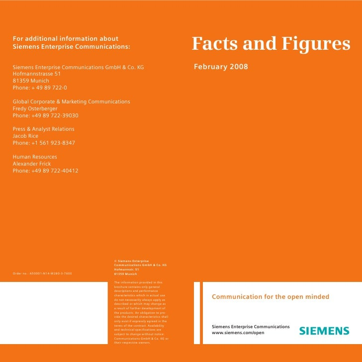 Facts and Figures For additional information about Siemens Enterprise Communications:                                     ...