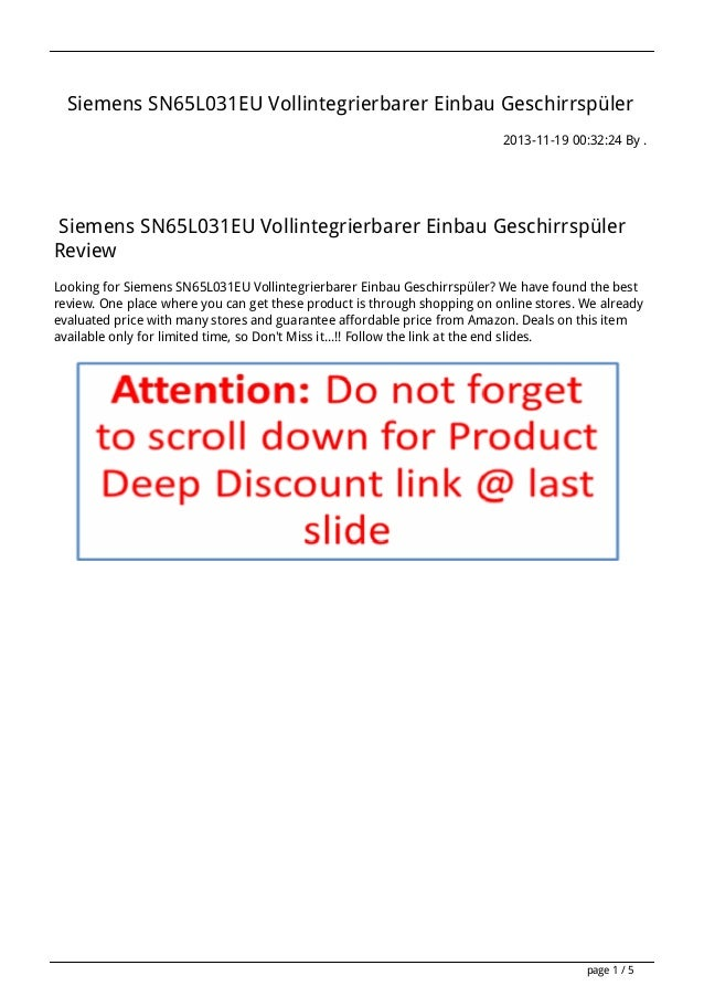 Siemens SN65L031EU Vollintegrierbarer Einbau Geschirrspüler 2013-11-19 00:32:24 By .  Siemens SN65L031EU Vollintegrierbare...