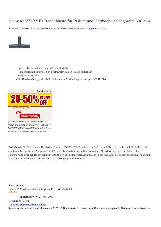 Siemens VZ123HD Bodenbürste für Parkett und Hartböden / Saugbreite 300 mmLimited!- Siemens VZ123HD Bodenbürste für Parkett...
