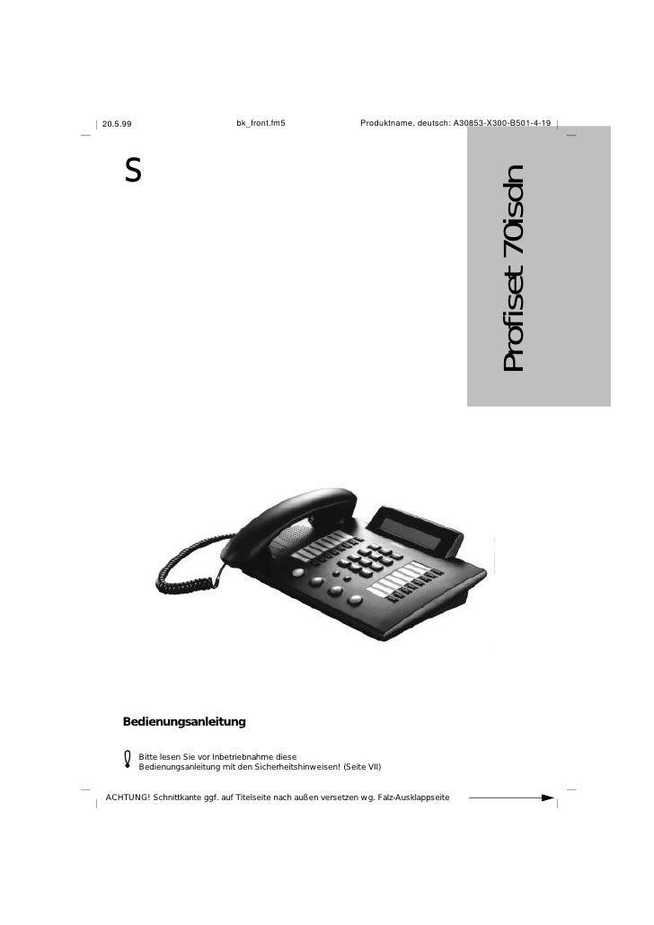 bk_front.fm5                   Produktname, deutsch: A30853-X300-B501-4-19 20.5.99          s                             ...