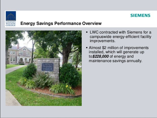 Energy Savings Performance Overview  LWC contracted with Siemens for a campuswide energy-efficient facility improvements....