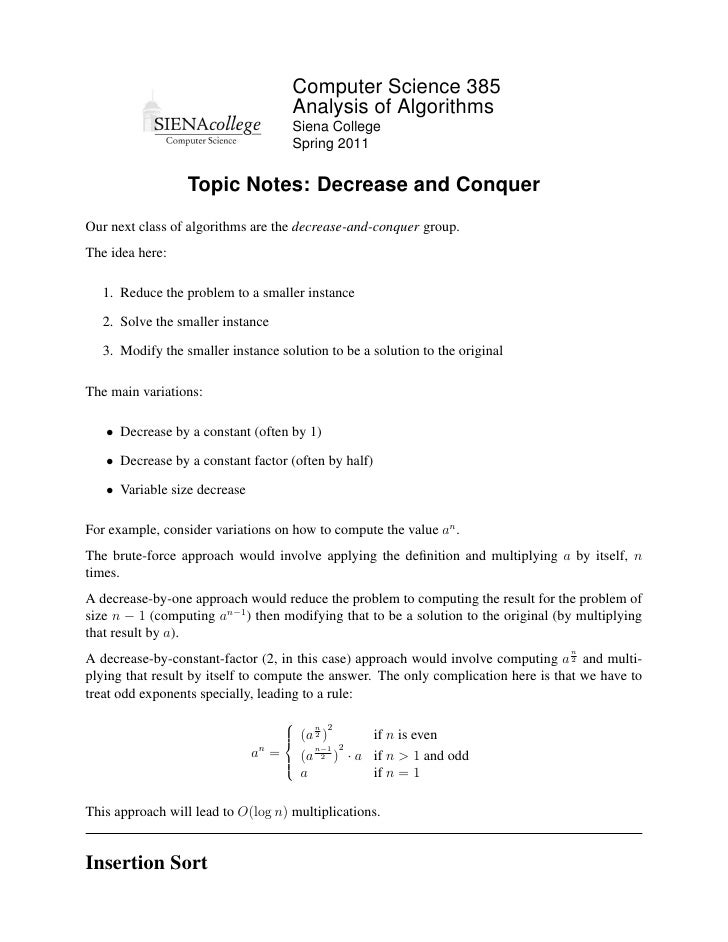 Computer Science 385                                     Analysis of Algorithms                                     Siena ...