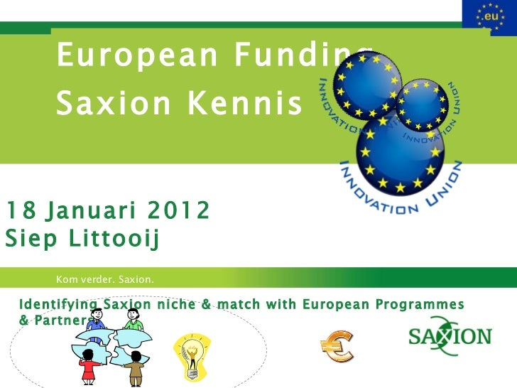 European Funding  Saxion Kennis Identifying Saxion niche & match with European Programmes & Partners 18 Januari 2012 Siep ...