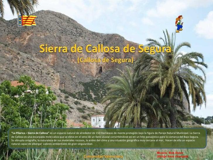 """""""La Pilarica – Sierra de Callosa"""" es un espacio natural de alrededor de 150 Hectáreas de monte protegido bajo la figura de..."""