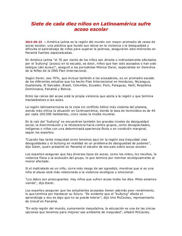 Siete de cada diez niños en Latinoamérica sufreacoso escolar2013-05-22 — América Latina es la región del mundo con mayor p...