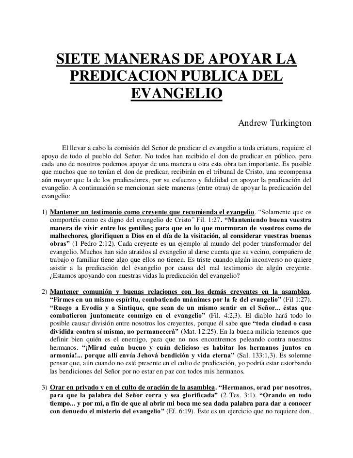 SIETE MANERAS DE APOYAR LA       PREDICACION PUBLICA DEL             EVANGELIO                                            ...