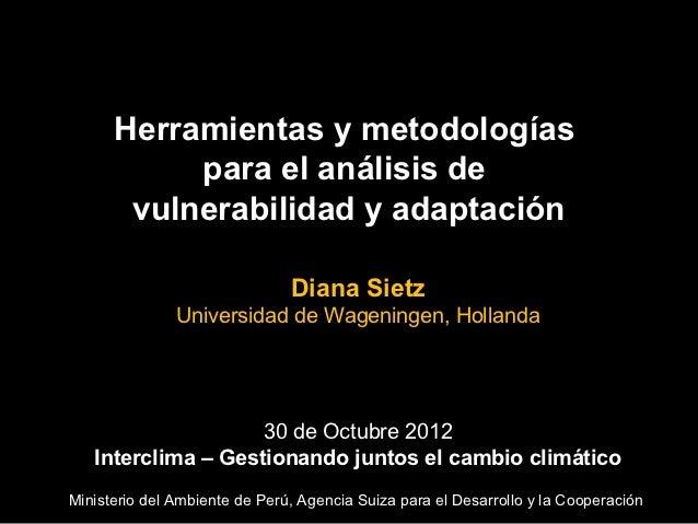 Herramientas y metodologías           para el análisis de       vulnerabilidad y adaptación                               ...