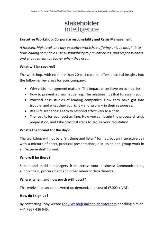 SI Executive Workshop - Crisis, Sustainability, CSR and Reputation Management
