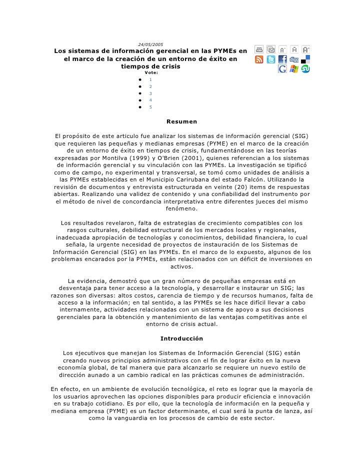 24/05/2005Los sistemas de información gerencial en las PYMEs en el marco de la creación de un entorno de éxito en tiempos ...