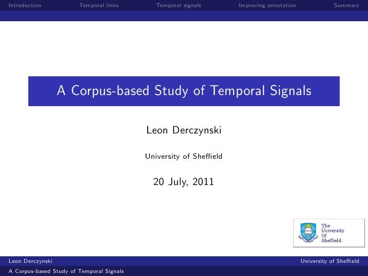 Introduction            Temporal links        Temporal signals     Improving annotation              Summary              ...
