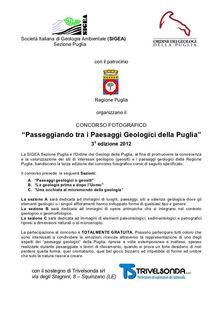 Società Italiana di Geologia Ambientale (SIGEA)                Sezione Puglia                                       con il...