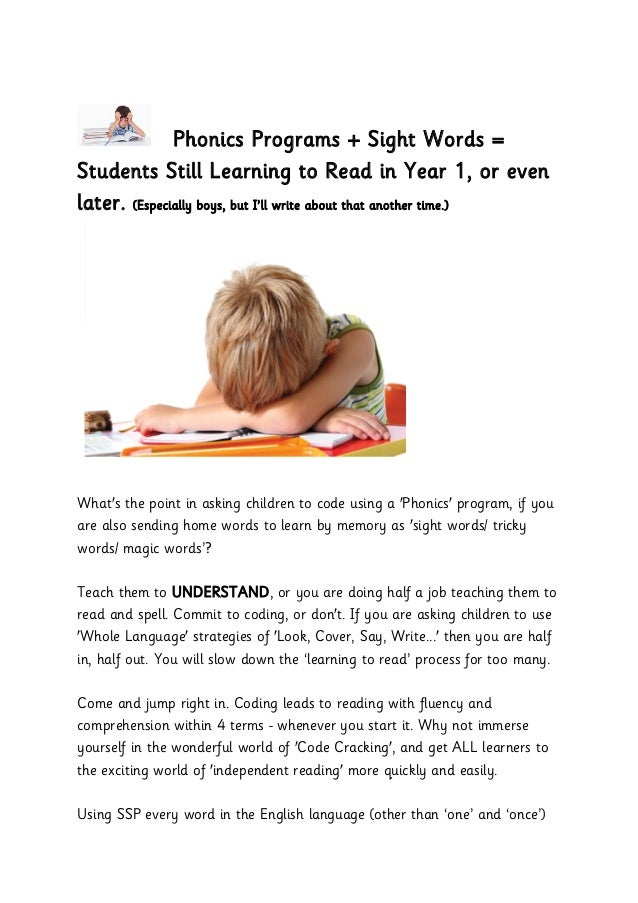 Phonics Programs + Sight Words = Students Still Learning to Read in Year 1, or even later. (Especially boys, but I'll writ...