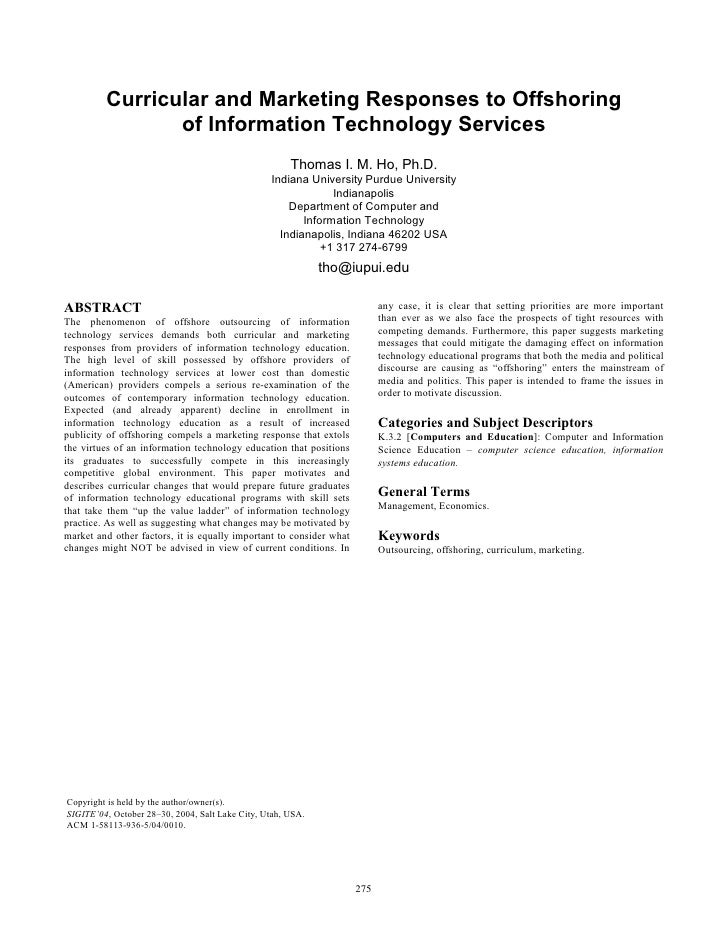 Curricular and Marketing Responses to Offshoring of Information Technology Services