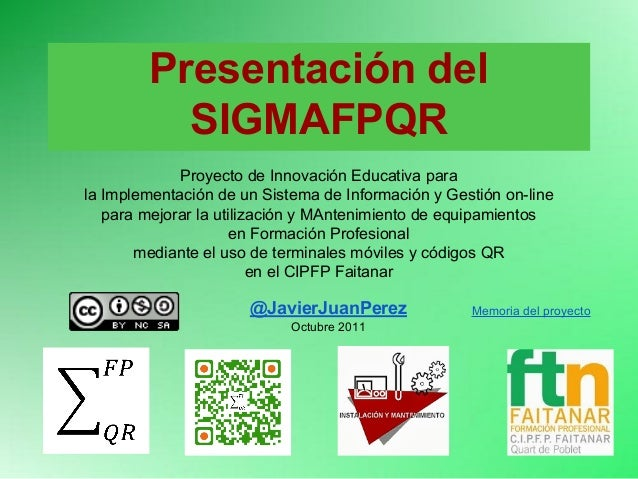 Presentación del SIGMAFPQR