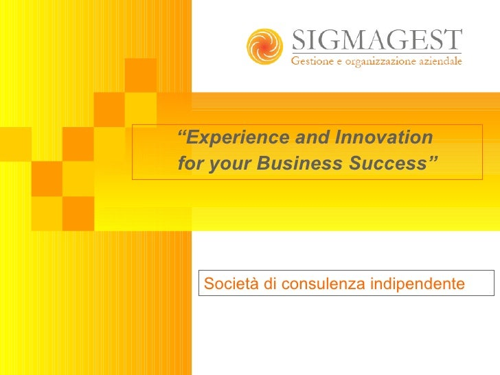 """ Experience and Innovation  for your Business Success"" Società di consulenza indipendente"